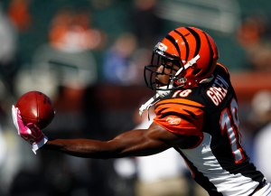 Oct 2, 2011; Cincinnati, OH, USA; Cincinnati Bengals wide receiver A.J. Green (18) catches a pass before the game against the Buffalo Bills at Paul Brown Stadium. Mandatory Credit: Frank Victores-US PRESSWIRE